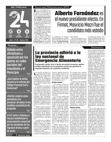 Tapa. Firmat24 periódico. Edición Nro 183.